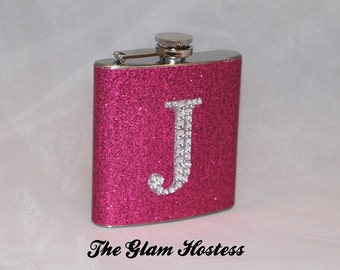 Sparkle Glam Flask with Rhinestone Initial