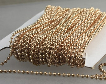 Champagne Gold Chain Bulk, 32 ft. spool of ROUND BALL chain Necklace Chain - 2.4mm ball size - w/ FREE 20pcs Connectors (Insert)