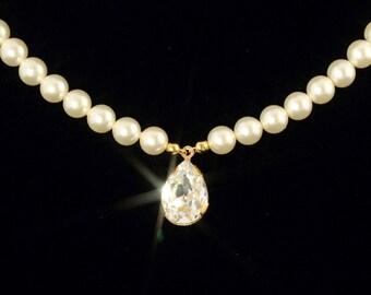 Gold Pearl Wedding Necklace,  Wedding Bridal Jewelry, Rhinestone Crystal Teardrop, Bridal Pearl Necklace -- ELIZABETH