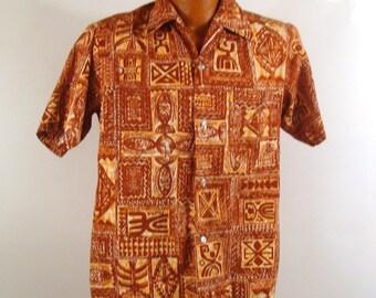Hawaiian Shirt Vintage 1970s Hawaii Tiki Print Men's Browns