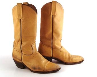 Frye Cowboy Boots Vintage 1980s Distressed Tan Brown Men's size 10 1/2