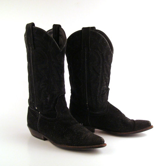 cowboy boots black suede leather vintage by