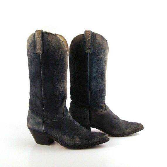 blue cowboy boots 1980s brand suede by