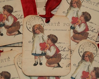 Vintage French Post Card Vintage Valentine Love  Gift Tags
