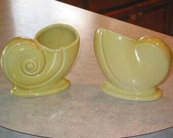 pair Trenton Pottery TAC nautilus Shell yellow chartreuse Vase planter vases