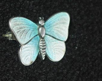 SALE!!! Charles Horner sterling silver guilloche silver blue enamel Art Nouveau Butterfly Brooch