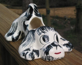 how much is that doggie in the window   NS Co Ohio USA Pottery Dog vintage planter playful spaniel