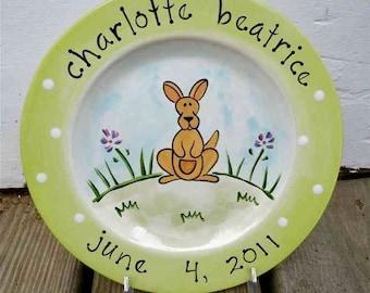 personalized hand painted baby kangaroo birth plate