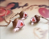 Glass Acorn Necklace and Earring Set: Peter Pan's Kiss by Bullseyebeads
