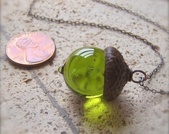 Glass Acorn Necklace in Transparent Olivine by Bullseyebeads