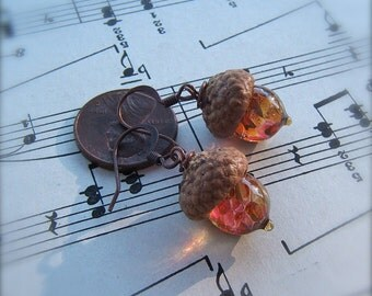 Glass Acorn Earrings in Autumn Tones by Bullseyebeads