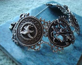 Vintage Antique German Sterling Silver Panel Bracelet Saint George and the Dragon German artist Blachian Antik Schmuck BAS