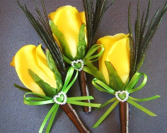 Yellow wedding boutonniere groomsmen boutineer yellow rose groom silk flower wedding boutineer men artificial flowers rose boutonniere lapel
