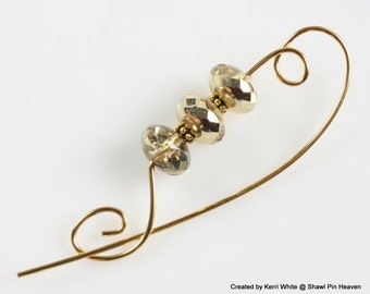Faceted Preciosa Beaded Shawl Pin, Scarf Pin, Brooch - Faceted Preciosa Beads in Gold