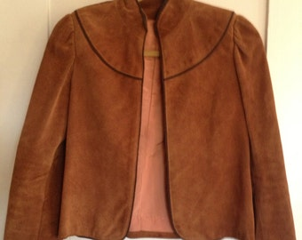 Vintage Suede Jacket with Puff Sleeves in Cognac Leather Fully Lined