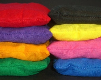 Washable Rainbow of colors Cherry Pit Filled Bean Bags, Set of 8 with drawstring bag