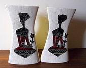 Midcentury Modern ArtMark Figural Vases,Yellow, Black, Red