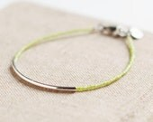 Bar Bracelet with light green seed beads - minimalist bracelet - friendship bracelet