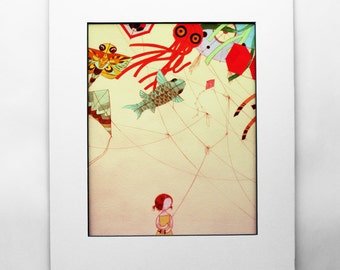 8x10 Japanese Kite color art print - Bright Colorful Girl with String