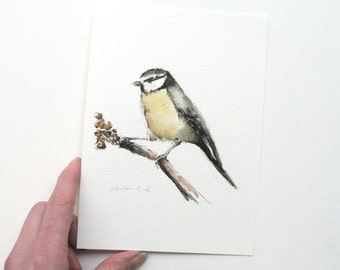 Giclee print of an ink and watercolor painting of a Blue Tit