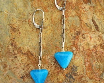 Blue Quartz Sterling Silver Earrings - Ocean Triangles