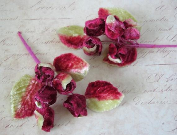 Millinery Velvet Flower duo- hat trim Velvet buds-Shaded cranberry / Valentine red