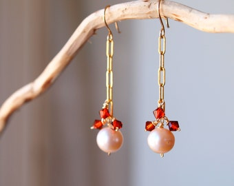 Peach pearl long earrings with terracotta bicone swarovski, long dangling earring, indian red and pearl earrings, goldfilled earrings