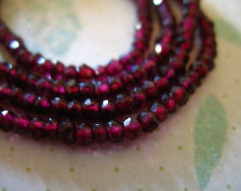 Shop Sale.. GARNET Rondelles Beads, Luxe AAA, Full Strand, 3 mm, Raspberry Burgundy Red Pink, january birthstone brides bridal