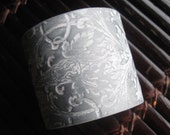 SALE Silver Cuff Bracelet Light Rose Damask Design, Wedding Bridal Jewelry by theshagbag