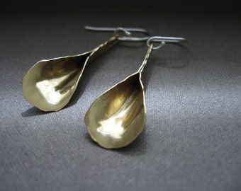 Sm Long Petal Earrings in Copper, Bronze or Sterling Silver