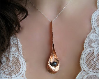 Lg Long Petal Pearl Necklace in Copper, Bronze or Sterling