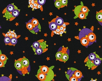 End of the Bolt - Halloween Owls in Black by Timeless Treasures -1 Yard 29 Inches
