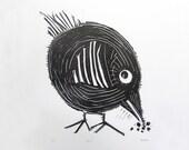 Hip Chic Linocut Letterpress Print in Black. Chicken Print. Animal Print. Nursery Decor. Wall Art. Home Decor. Kids Room.