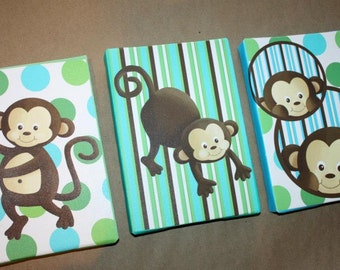 Set of 3 Mini Aqua Pop Monkey Stretched Canvases Baby Nursery CANVAS Bedroom Wall Art 3CS006