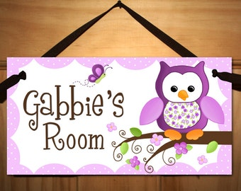 Kids DOOR SIGN Pretty Purple Owl Girls Bedroom Baby Nursery Wall Art DS0161