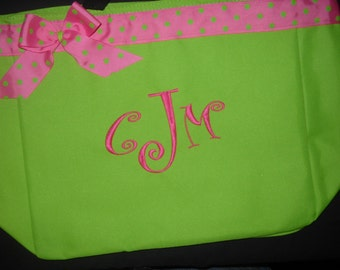 Personalized Tote Bag, Beach bag Monogram or Name Cute Bridesmaids,Birthday,Teacher gift with ribbon and bow.