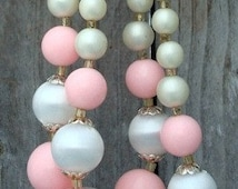 50s Choker Necklace - 50s Jewelry - 50s Necklace - Double Strand Choker Necklace - Choker Necklace - Pink - White
