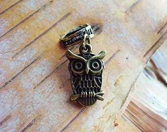 Owl Antiqued Brass ADD to your DREADS Dreadlock Accessory Extension Accessories Dread Boho Bohemian Hippie Bead