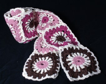 Ready to Ship Granny Square Crocheted Scarf