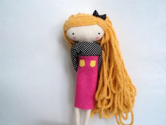 Rita, rag doll - cloth art rag doll hot pink felt skirt polka dots shirt