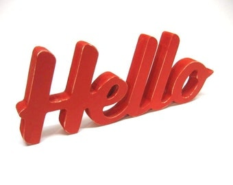 Wood Hello Sign - 4 Inch Shelf Sitter Style - Office or Home Decor - Greeting - Painted Primary Red - Spring Decor