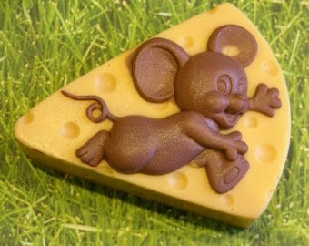MOUSE and CHEESE Soap - Art Soap - Choose Scent Or Unscented - Detergent Free Glycerin Soap - Made To Order