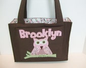 Handmade Personalized Brown Diaper Bag with Pink and Brown Applique by Tried and True Designs on Etsy - TriedAndTrueDesigns