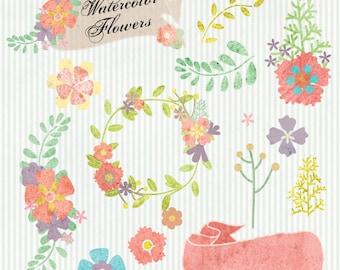 Instant Download - Watercolor Flowers: Digital Clipart Set