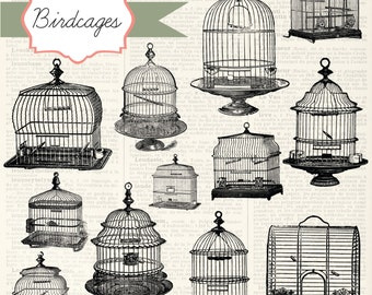 Vintage Birdcages Digital Clipart and Photoshop Brushes: Commercial and Personal Use
