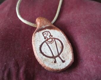 Hoop Girl Rock Art Pendant Necklace