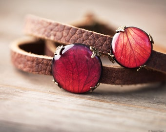 Brown leather wrap bracelet - Red Rose leather bracelet - Brown leather bracelet - Red Flower bracelet - Triple Wrap Bracelet - Boho (BT026)