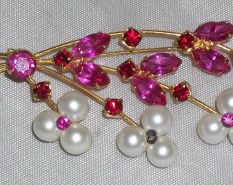 Vintage Red Fuschia Rhinestone Flower Brooch Faux Pearls