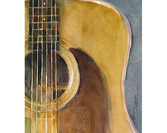 2013 - Martin Guitar D-28 - Watercolor Art Print - Size  8.5 x 11 or 12 x 18
