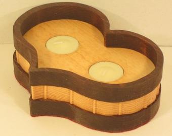 Heart Shaped 2 Tea Light Candle Holder Handmade